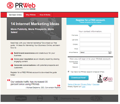 pr-web-ppc-landing-page-for-lead-generation