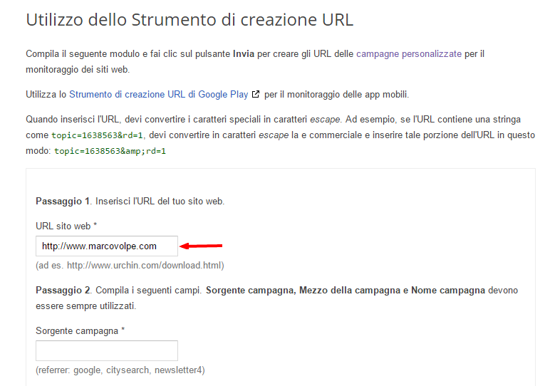Passaggio 1 dello strumento di creazione URL