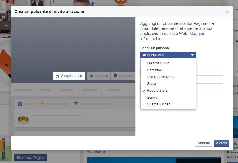 Impostare cta su Facebook